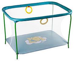 Манеж Qvatro LUX-02 мелкая сетка морская волна Winnie Pooh