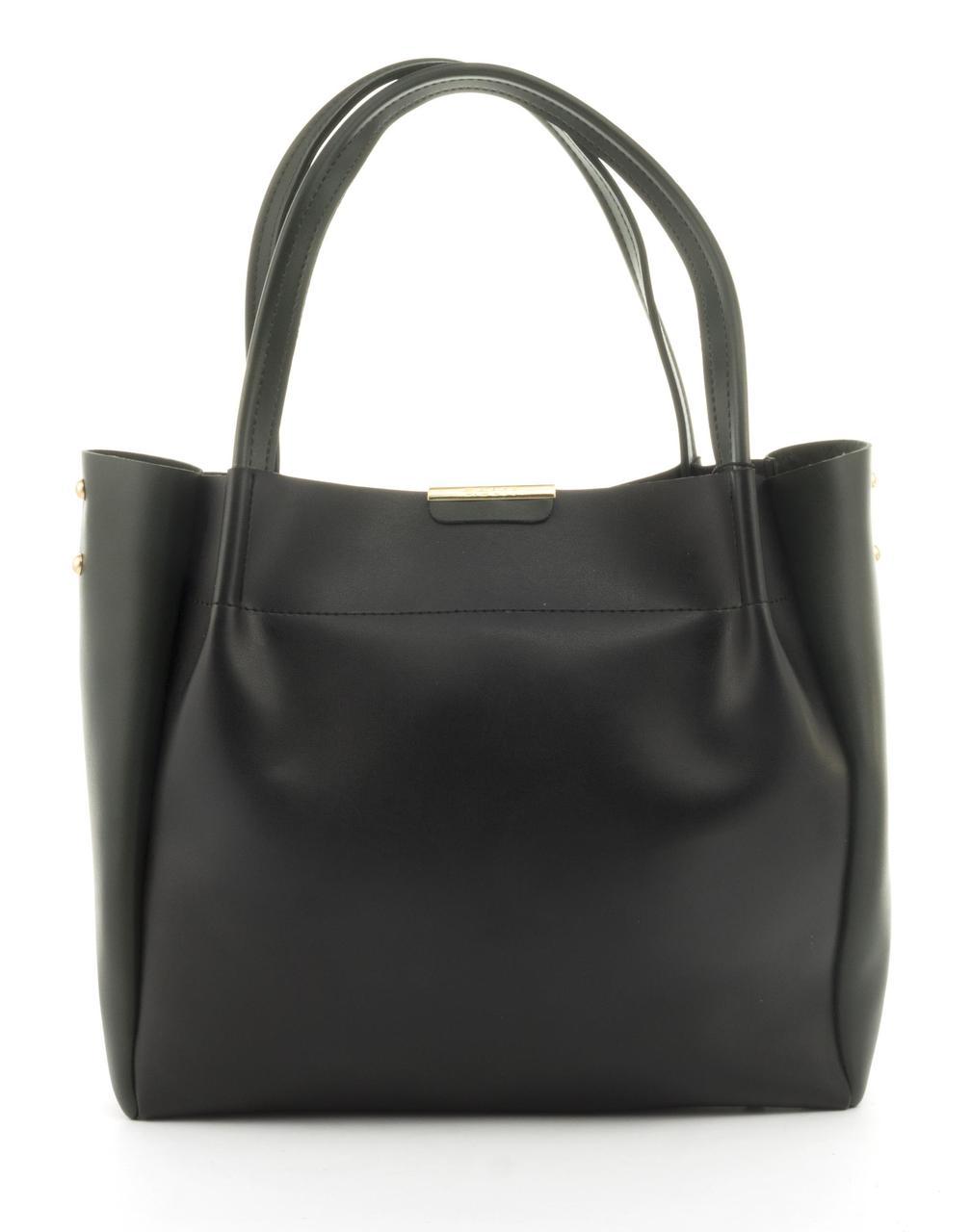 Вместительная прочная модная сумка из эко кожи высокого качества B.Elite art. 07-76 черный/зеленый