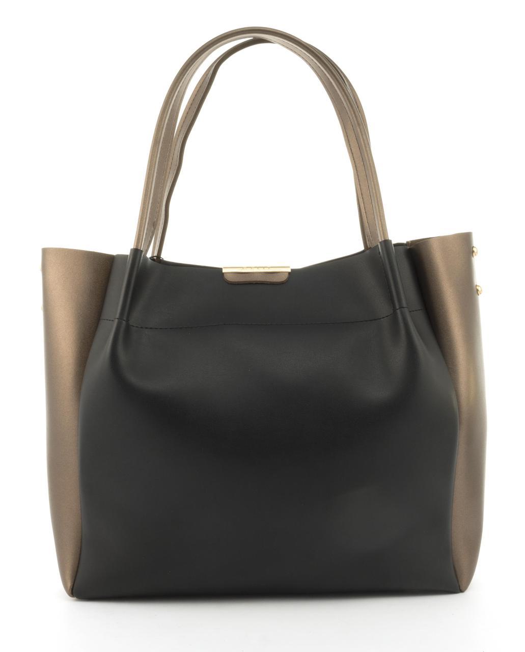 Вместительная прочная модная сумка из эко кожи высокого качества B.Elite art. 07-76 черный/золото
