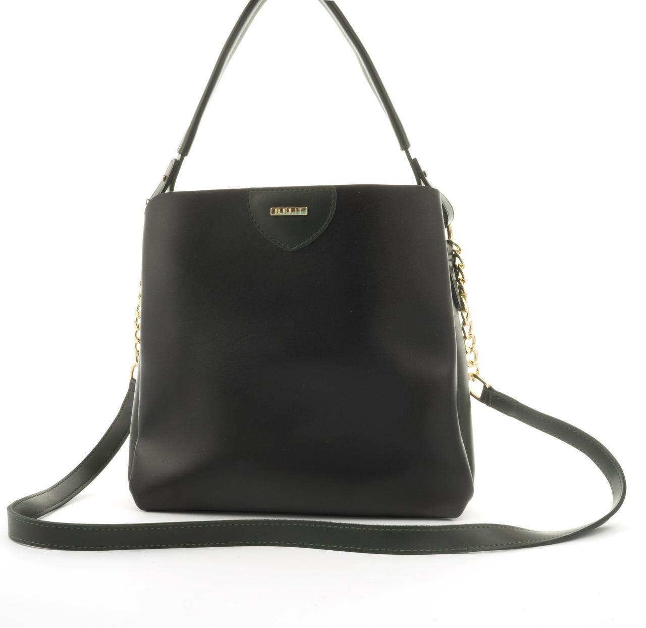 Оригинальная качественная суперстильная сумка с эко кожи очень высокого качества B.Elite art. 08-21 черн/зелен