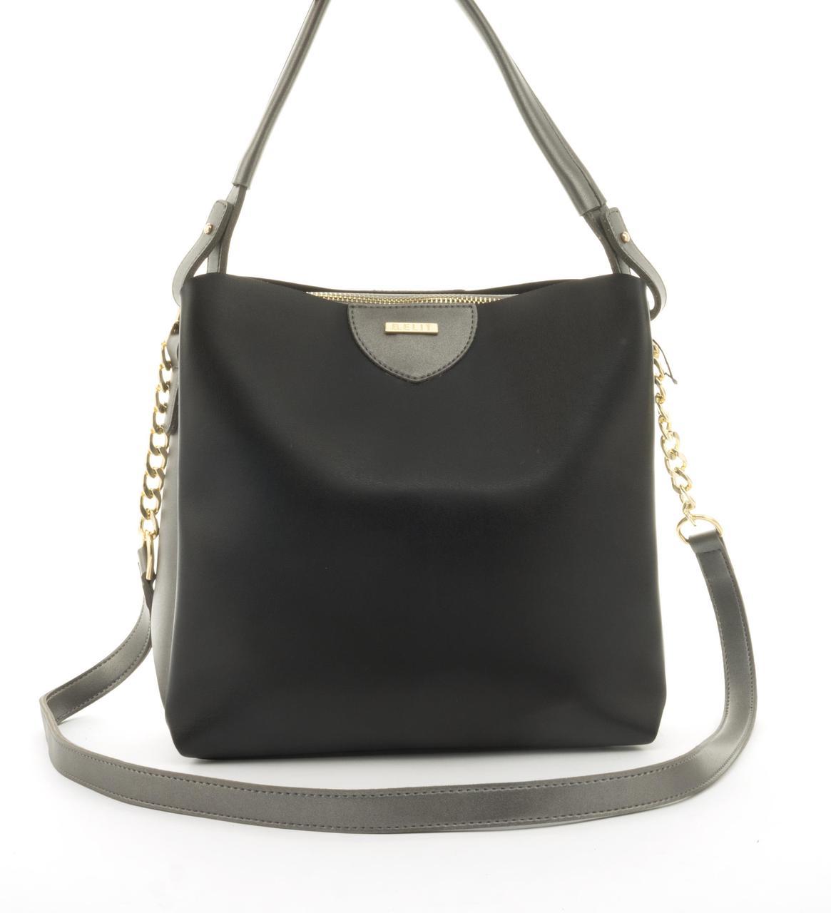 Оригинальная качественная суперстильная сумка с эко кожи очень высокого качества B.Elite art. 08-21 черн/сереб