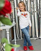 Трикотажна футболка для дівчинки довгий рукав з вишивкою