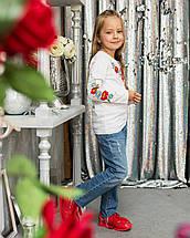 Трикотажна футболка для дівчинки довгий рукав з вишивкою, фото 2