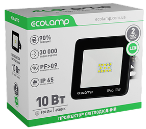 LED-прожектор ECOLAMP 10W -900lm-6500K-IP65