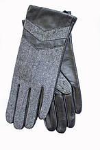 Женские комбинированные перчатки  кожа+ткань 708