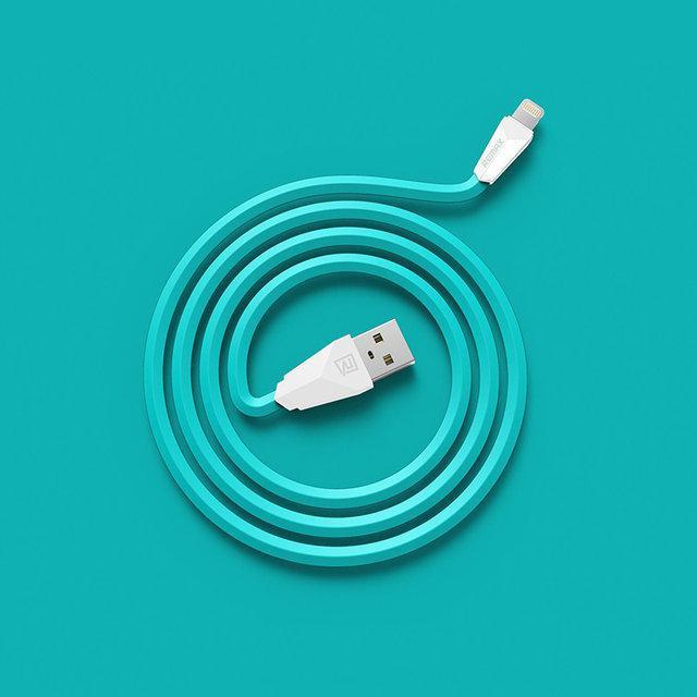 USB кабель Remax Aliens RC-030i Lightning, 1m white blue