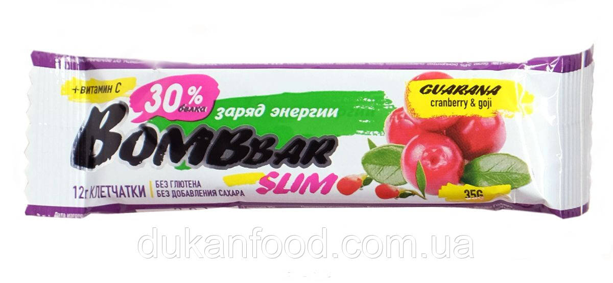 BomBBar Slim протеиновый батончик Клюква и ягоды годжи (Гуарана)