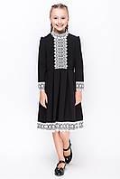 Школьное платье нарядное для девочки с кружевом черное