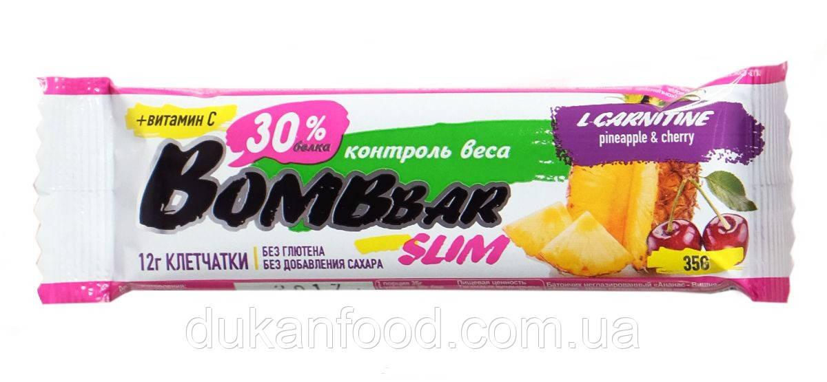 BomBBar Slim протеиновый батончик Ананас и вишня (L-carnitine)