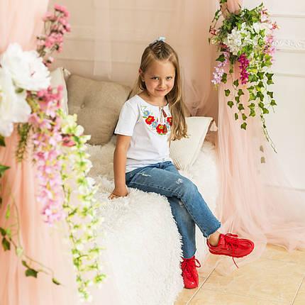 Трикотажная футболка для девочки с вышивкой Маки, фото 2