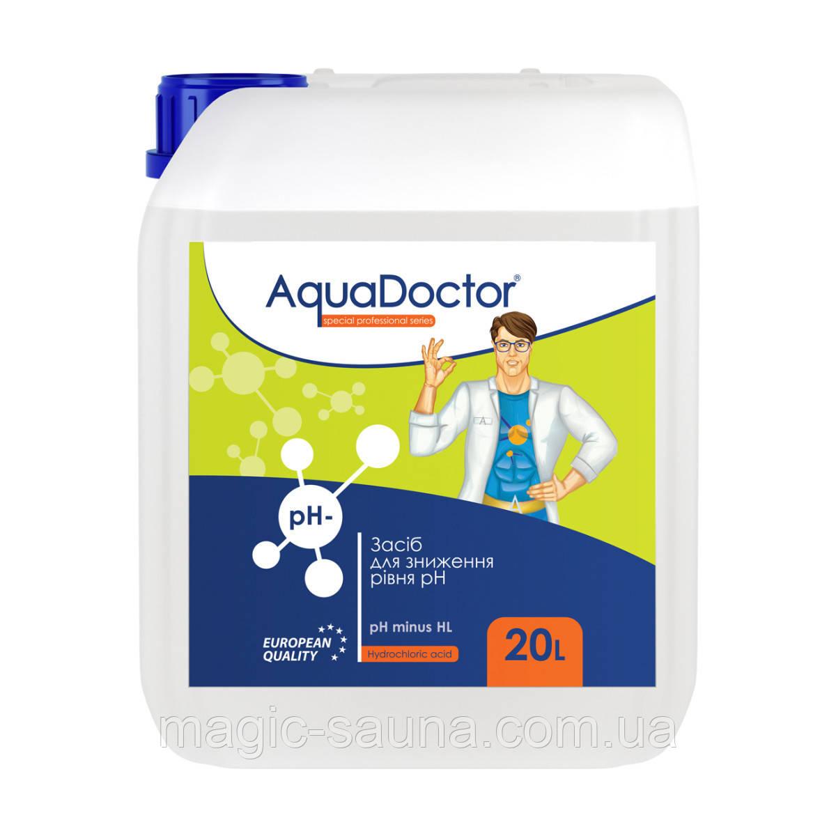 Жидкое средство для снижения pH AquaDoctor pH Minus HL (Соляная 14%) 20 л.