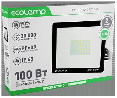 LED-прожектор ECOLAMP 100W -9000lm-6500K-IP65