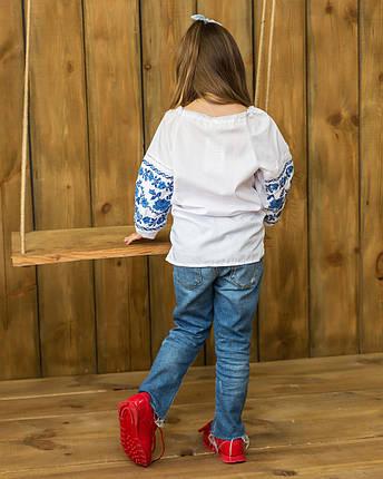 Сорочка вишиванка для дівчинки Намисто синє, фото 2