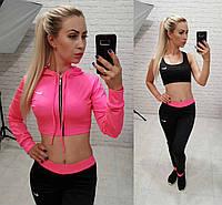 Фитнес костюм 3-ка реплика Nike мастерка мини топ и лосины микро дайвинг розовый , фото 1
