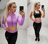 Фитнес костюм 3-ка реплика Nike мастерка мини топ и лосины микро дайвинг фиолет , фото 1