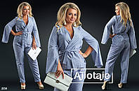 Брючный костюм женски с жакетом на запах батал р. 50-56 Ajiotaje XL
