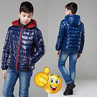 Демисезонная куртка для мальчика с капюшоном NW  Дени  19892  Синий  , фото 1