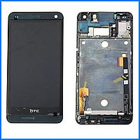 Дисплей (экран) для HTC One M7 802w Dual Sim с тачскрином в сборе, цвет черный, с передней панелью черного цвета