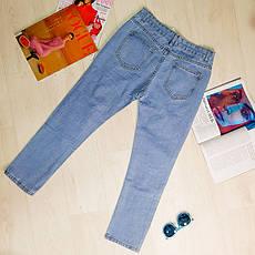 Джинсы голубые укороченные рваные -539-830, фото 2