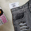 Джинсовые шорты серые с заклёпками - 539-2101-2, фото 2