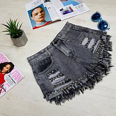 Джинсовые шорты серые с заклёпками - 539-2101-2, фото 3