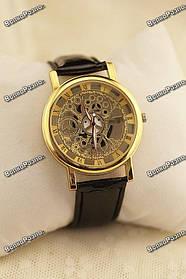 Мужские кварцевые часы стиль Skeleton с черным ремешком
