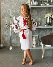 Біла сукня  вишиванка для дівчинки Трояндочка, фото 3