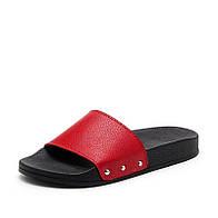 Тапочки женские шлёпанцы красного цвета из натуральной кожи на термополиэстеровой плоской подошве