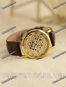 Мужские кварцевые часы стиль Skeleton с коричневым ремешком.