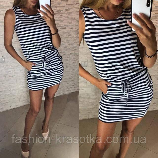 Платье-туника в полоску  в размерах 42 44 46 48