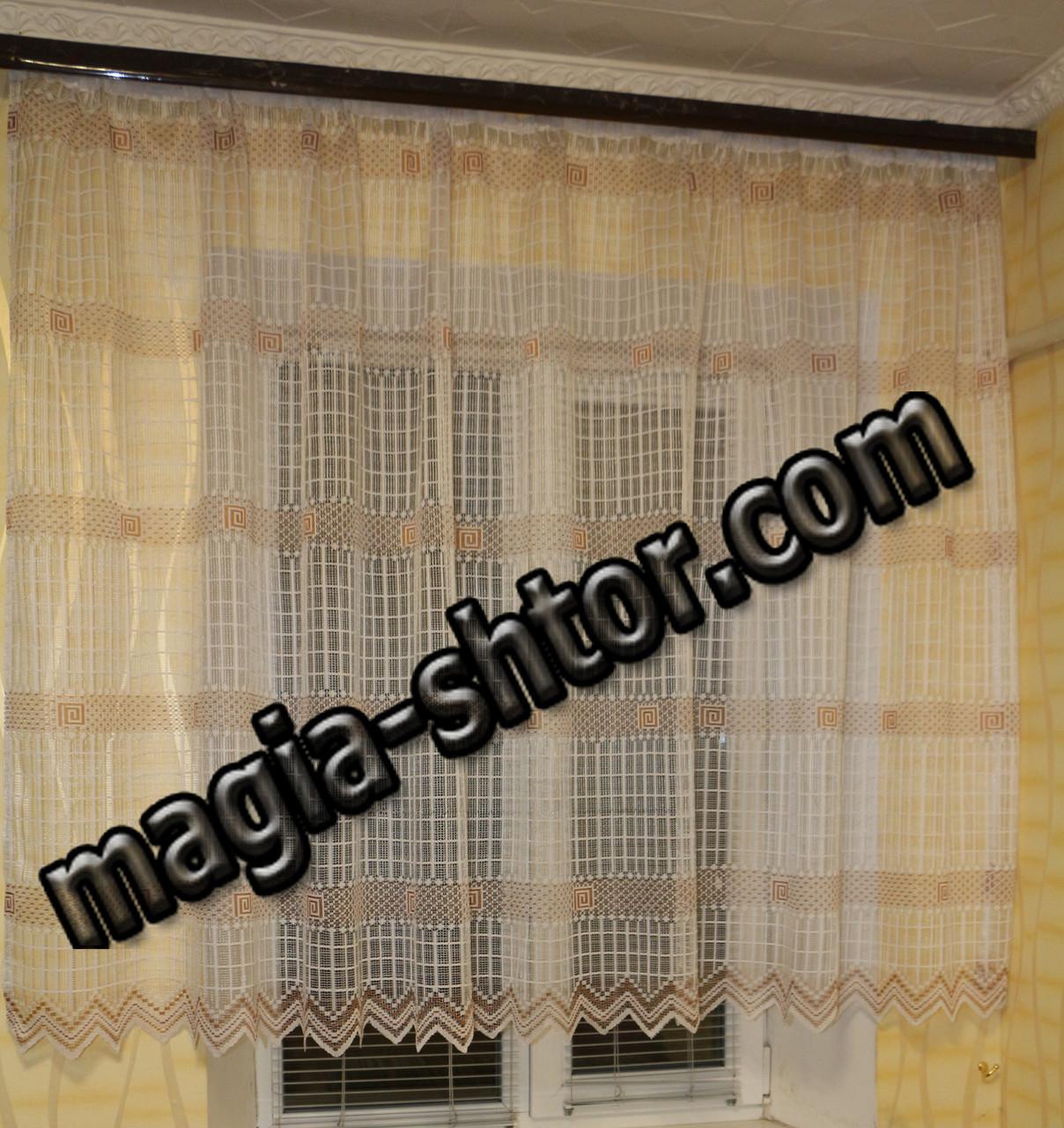 Тюль версаче с коричневым