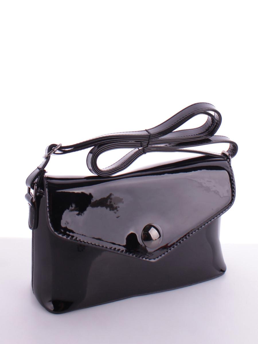 9180275686b8 Маленькая женская лаковая сумка на длинном ремешке черная купить в в ...