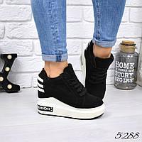 Кроссовки женские на платформе Lolly черный + белый, фото 1