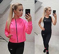 Фитнес костюм 3-ка реплика Nike балахон с капюшоном майка и лосины микро дайвинг розовый с черным, фото 1