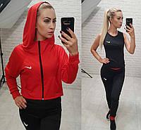Фитнес костюм 3-ка реплика Nike широкий балахон с капюшоном майка и лосины микро дайвинг красный с черным, фото 1