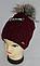 Шапка вязаная зима, флис м 6107, разные цвета, фото 2