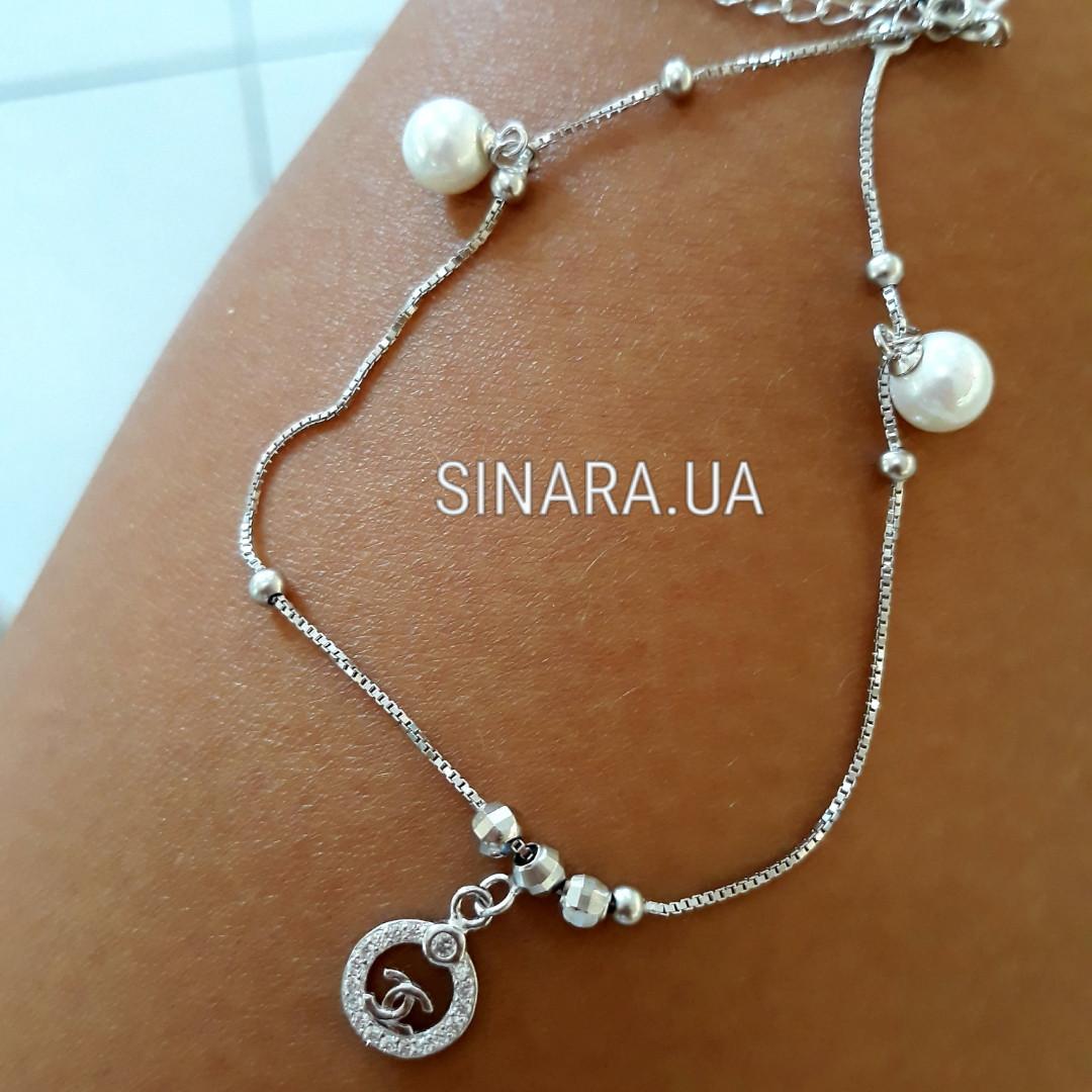 Серебряный браслет на ногу Шанель - Браслет на ногу с висюльками серебро 925 Шанель