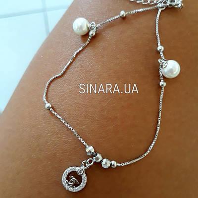 Срібний браслет на ногу Шанель - Браслет на ногу з висульками срібло 925 Шанель
