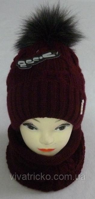 Комплект шапка с бубоном и баф зимний, акрил флис, люрекс,, разные цвета