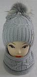 Комплект шапка с бубоном и баф зимний, акрил флис, люрекс,, разные цвета, фото 3