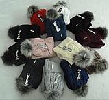 Комплект шапка с бубоном и баф зимний, акрил флис, люрекс,, разные цвета, фото 4