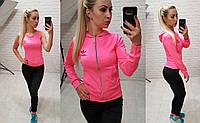 Фитнес костюм 3-ка реплика Adidas кофта с капюшоном майка и лосины микро дайвинг розовый с серым, фото 1