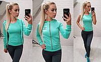 Фитнес костюм 3-ка реплика Adidas кофта с капюшоном майка и лосины микро дайвинг ментол с серым, фото 1