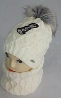 Комплект шапка с бубоном и баф зимний, разные цвета, фото 1