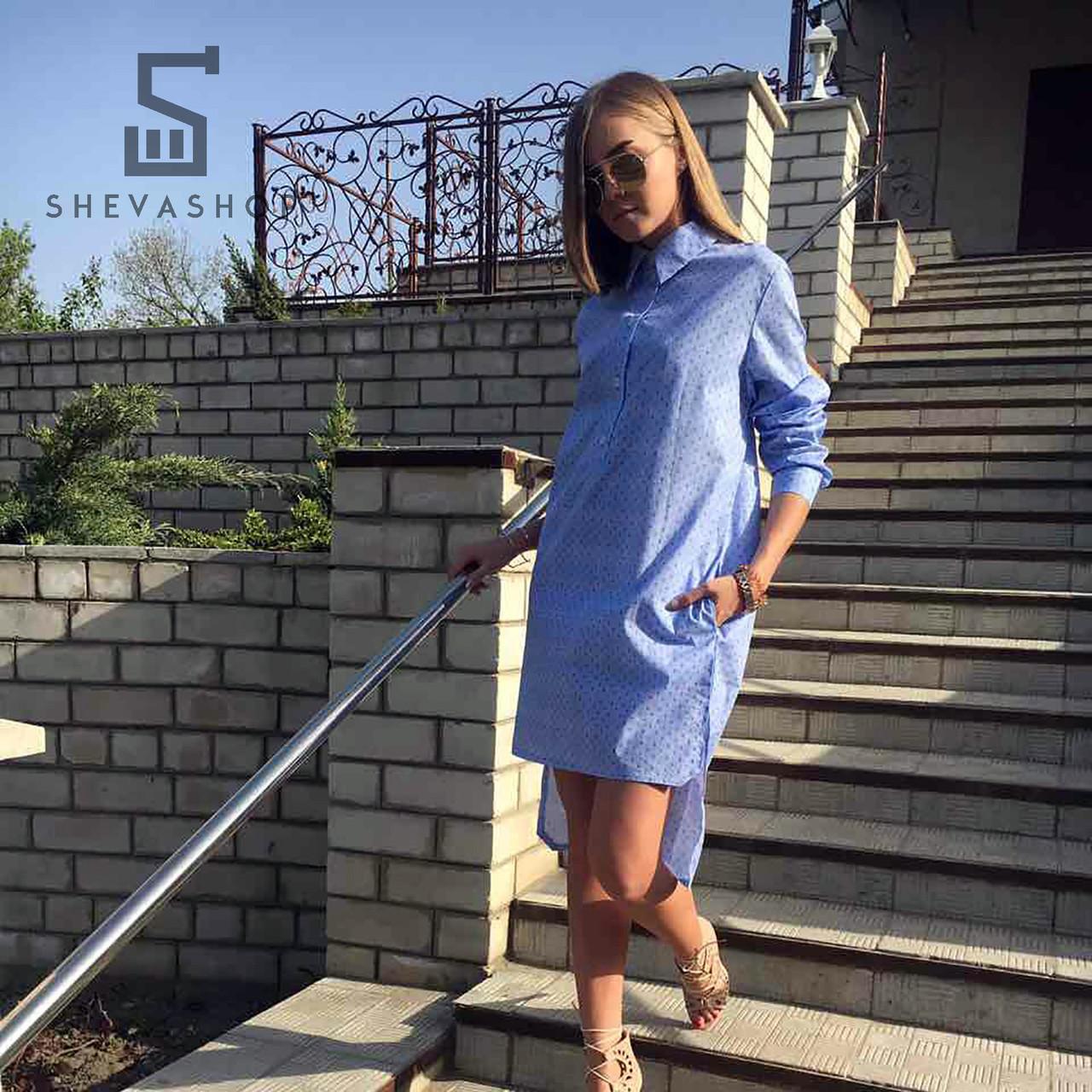Летнее платье-рубашка Ann Undine голубое