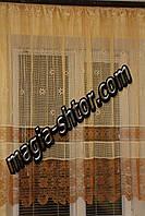 Тюль коричневая полоса, фото 1
