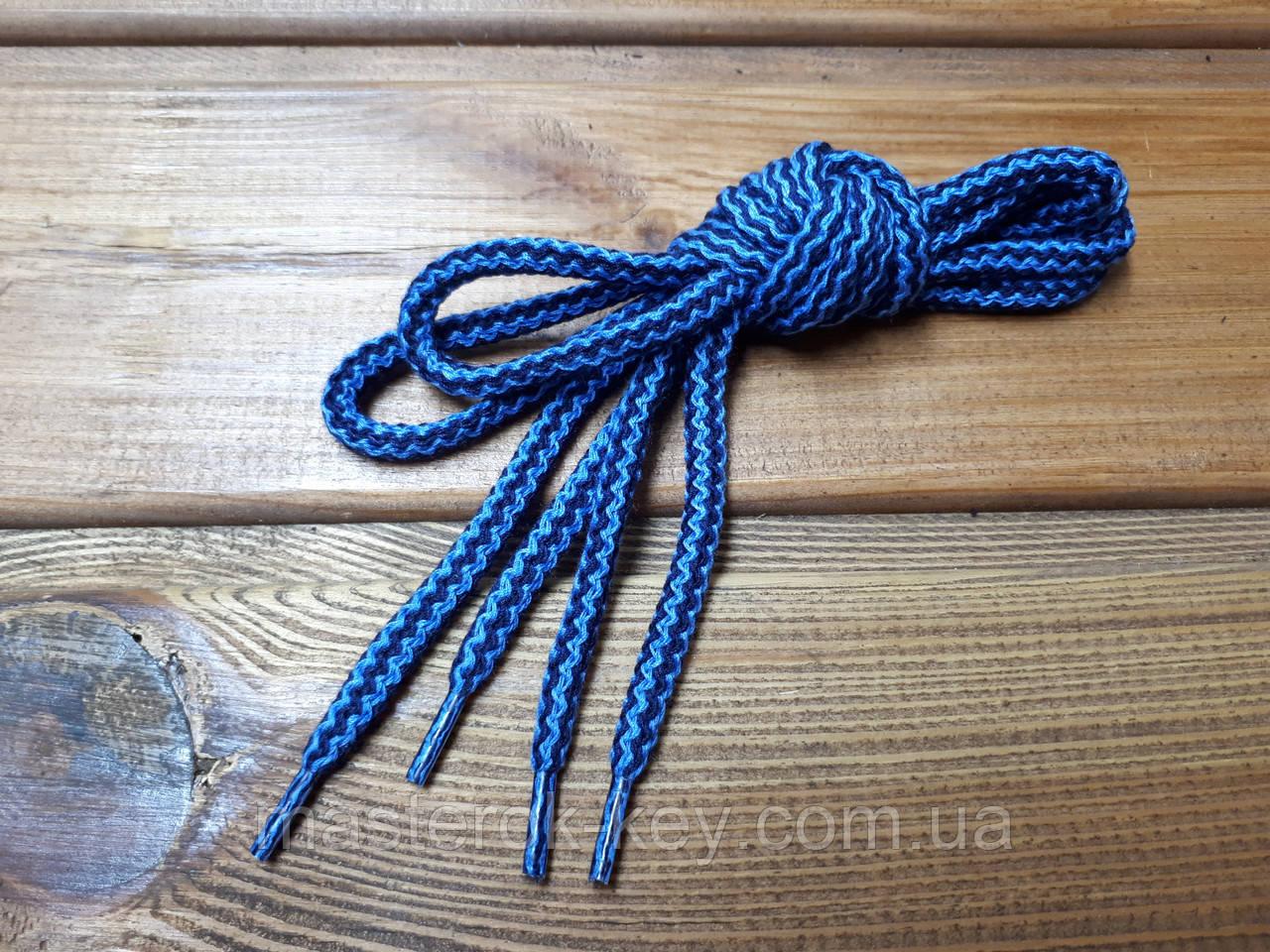Шнурки обувные круглые 100см цвет синий+темно синий 322+285 (3.4)