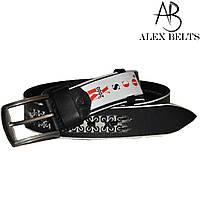 Ремень мужской джинсовый (черный) с тиснением кожаный 40 мм - купить оптом в Одессе