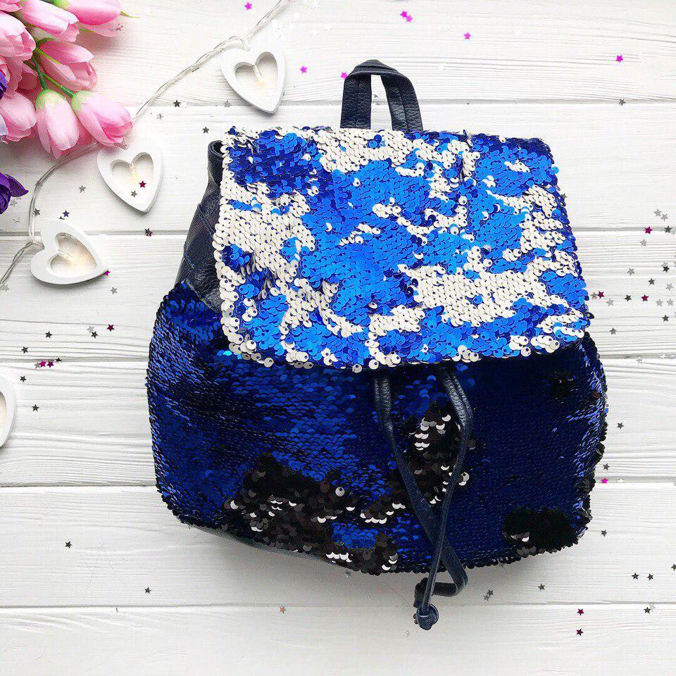 Стильный синий рюкзак с пайетками 0097  продажа, цена в Одессе ... 57b30db9dad