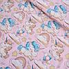 Сатин с единорожками на розовом, ширина 160 см